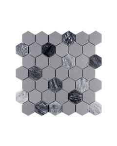 "Rockart Grey Granite 2"" Hexagon"