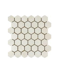 "Crema Marfil 2"" Hexagons Satin Matte"
