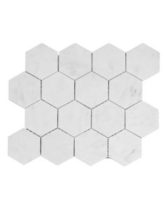 "Bianco Carrara Hex 3"" Honed"