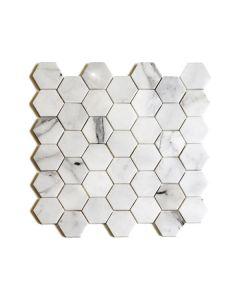 "Bianco Cascia 2"" Hexagon Polished"