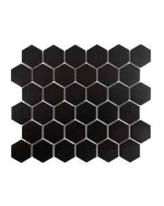 "Color Collection 2""x2"" Black Matte Hexagon"