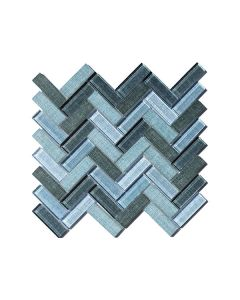 Fabric Blue Herringbone Glazed - Final Sale