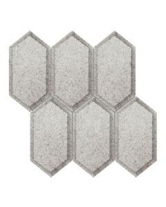 Obsidian Antique Silver Beveled Crystal Hexagon