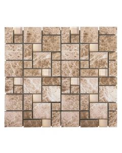 Jeffrey Court* Winward Plains Mosaic Light Emperador 12x12
