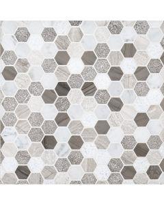 """Jeffrey Court* 1"""" Hexagon Pattern Mosaic Color Blend 11.625x11.25"""