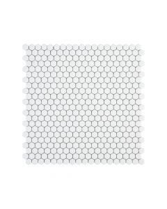 "Jeffrey Court* 5/8"" Hexagon Mosaic White 12x12.25"