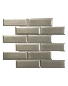 Satin Metal Nickel* 2x6 Beveled Brick Mosaic