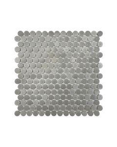 Satin Metal Pewter* Penny Round Mosaic