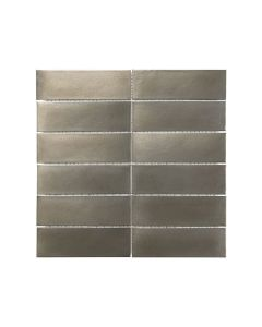Satin Metal Nickel* 2x6 Stacked Mosaic