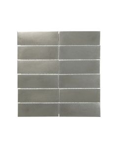 Satin Metal Pewter* 2x6 Stacked Mosaic