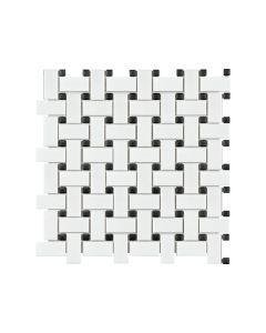 Soho White with Black Dot Basketweave Matte