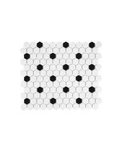 "Soho White 1"" Hexagon with Black Dot Matte"