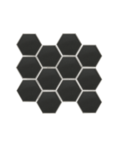 "Swiss Glass Dark Grey 3"" Hexagon Mosaic"