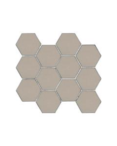 "Swiss Glass Taupe 3"" Hexagon Mosaic"
