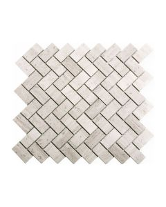 Wooden White Herringbone 1x2