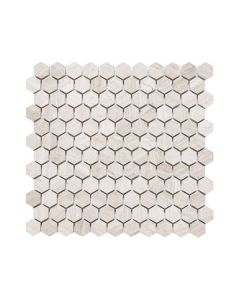 "Wooden White 1"" Hexagon"