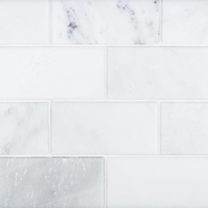 Stone West End White 3x6 Beveled Tile