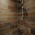 Savanna Natural Slate Strips Installed in a shower