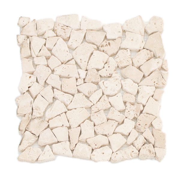 Ivory Travertine Pebble Stone Mosaic