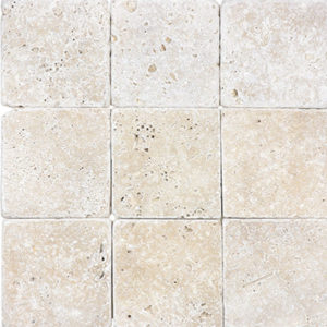Ivory Tumbled 4x4 Travertine Tile