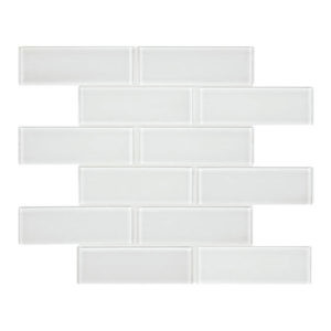 Element ice 2x6 glass mosaic tile
