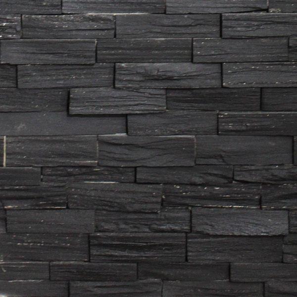 Slate Ledgestone Jet Black Splitface 6x24 Tile Stone Source