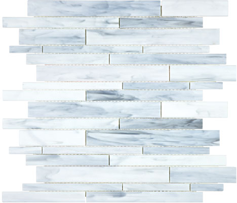Cathedral Carrara Glass Random Strip Mosaic