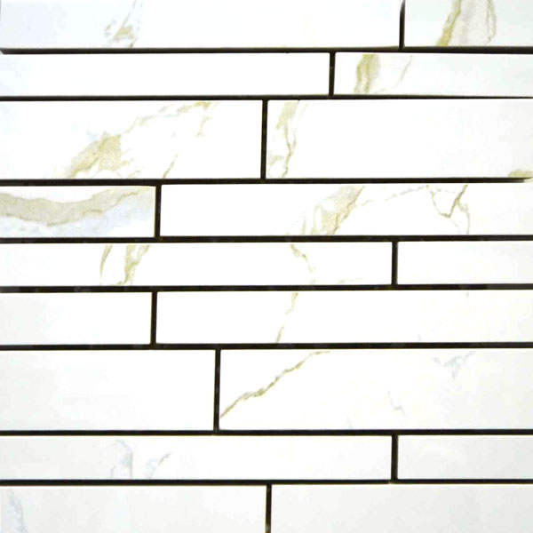 Imitation Marble Calcutta Random Strip Mosaic Porcelain Tile
