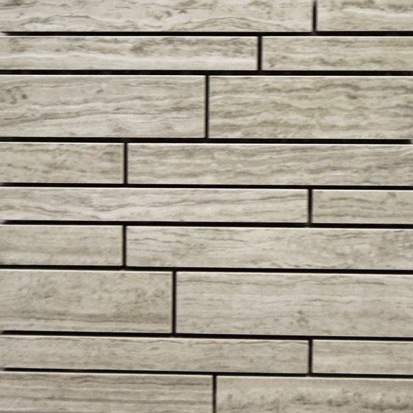 Imitation Marble Grey Veincut Random Strip Mosaic Porcelain Tile