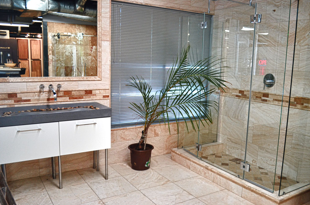 A shower installed in the Tile + Stone Source International Showroom