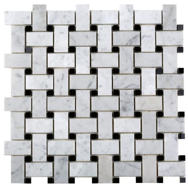 Bianco Carrara Marble Basketweave mosaic