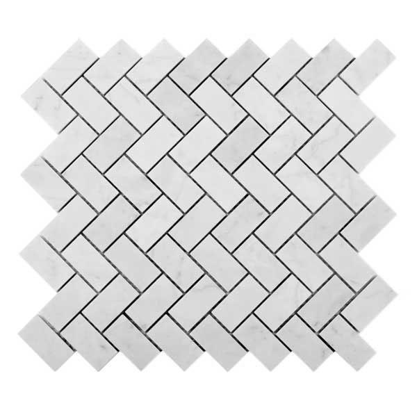 Bianco Carrara Herringbone Mosaic