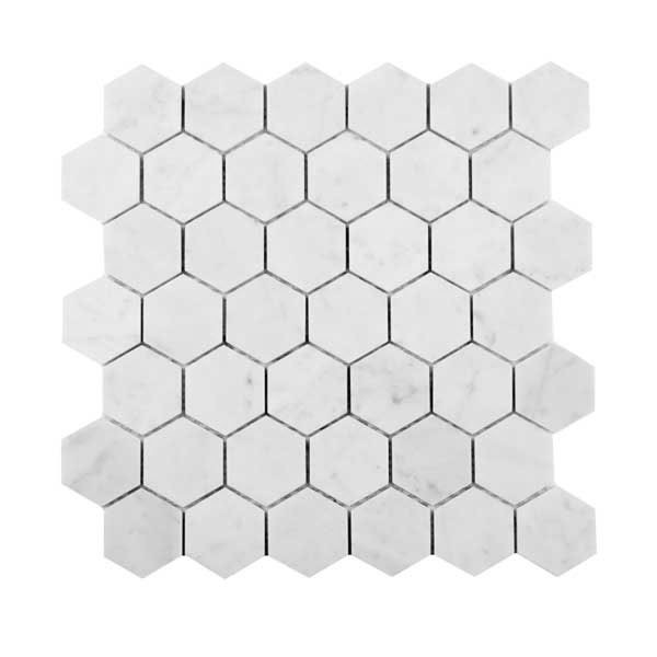 Bianco Carrara hexagons mosaic