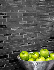 Crossroads Midnight Marble Mosaic in Benevolent  Blend installed as a backsplash