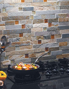 Pietra Opus Fire & Ice Brick Mosaic installed as a backsplash