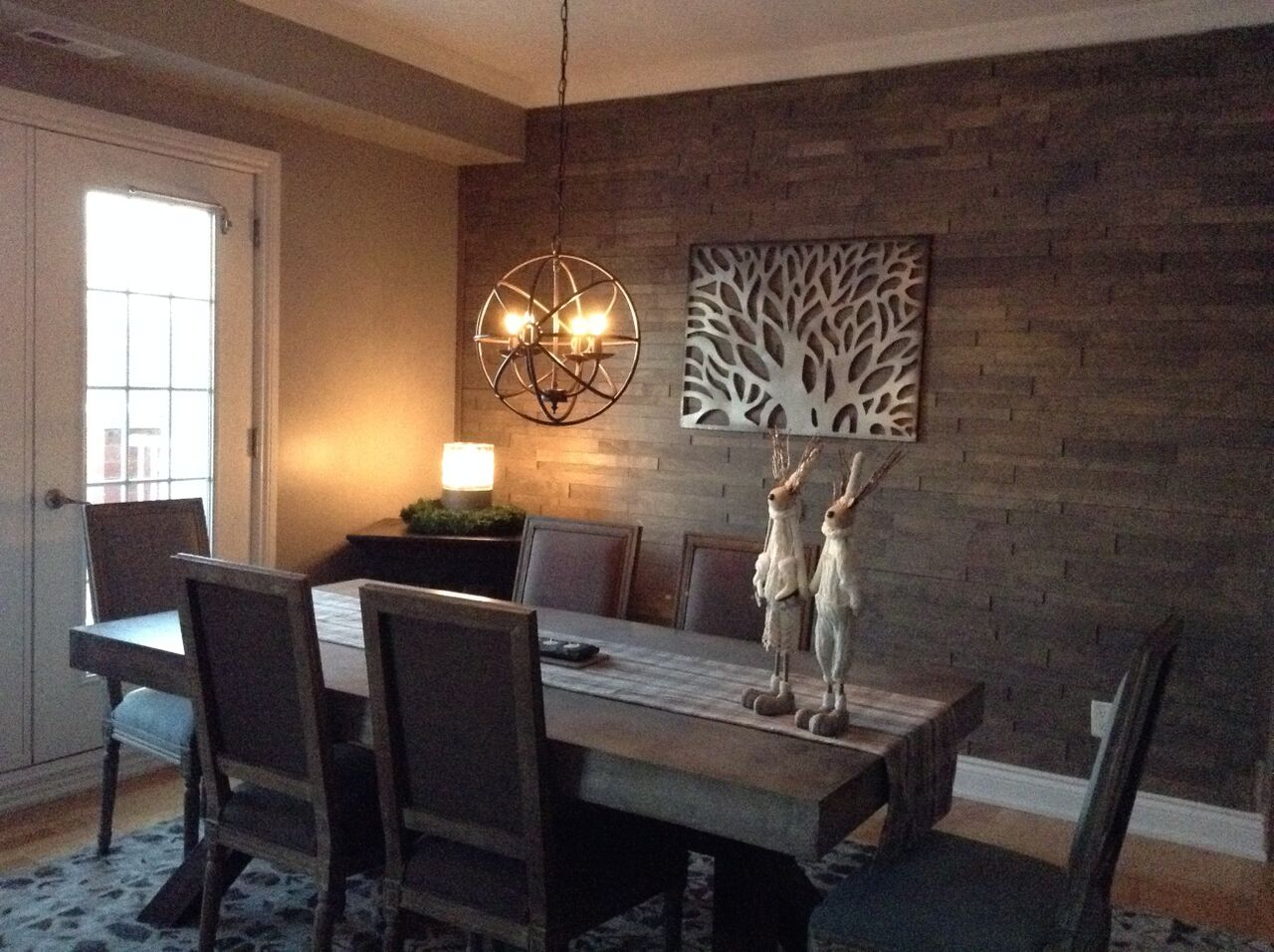expression denver 3d wood wall panelling installed in a dining roomexpression denver 3d wood wall panelling installed in a dining room as a feature wall