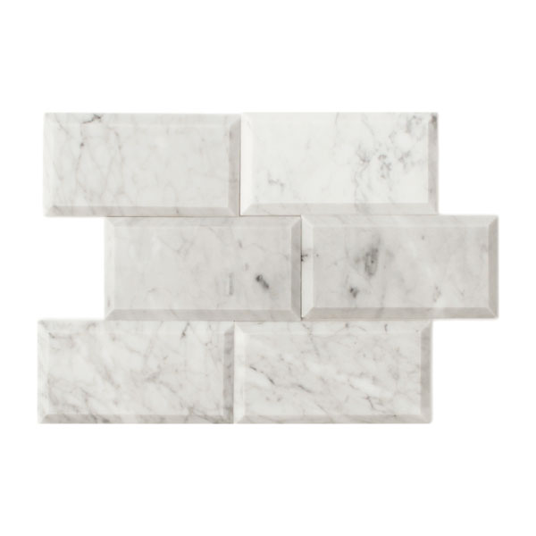 Bianco Carrara 3x6 Bevelled Marble Tile