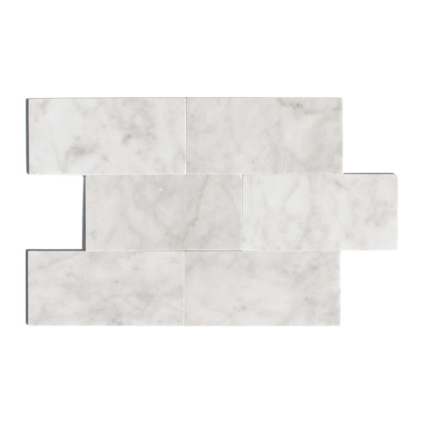 Bianco Carrara 3x6 straight edge marble tile