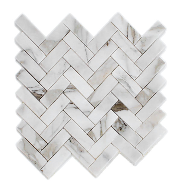 Bianco Cascia Marble Herringbone Mosaic