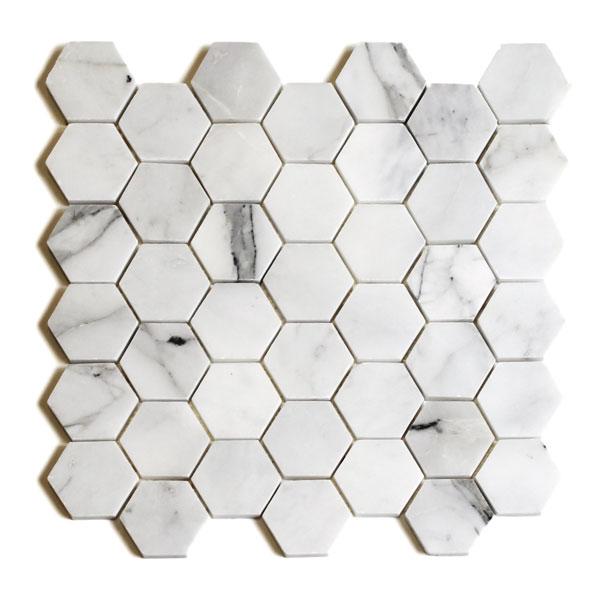 Bianco Cascia Marble Hexagon Mosaic