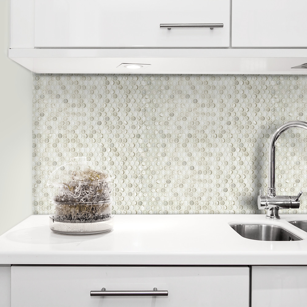 "Penny Round Backsplash: Jeffrey Court 3/4"" Penny Round Diamond Backsplash Install"