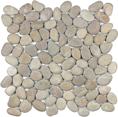 Driftwood Tan Tumbled Pebble Stone Mosaic