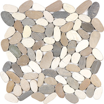 Harmony Warm Blend Flat Stone Pebble Mosaics_l