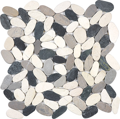 Tranquil Cool Blend Flat Pebble Stone Mosaic