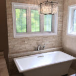 Ivory Cubic Ledgestone installed as a bathroom accent wall