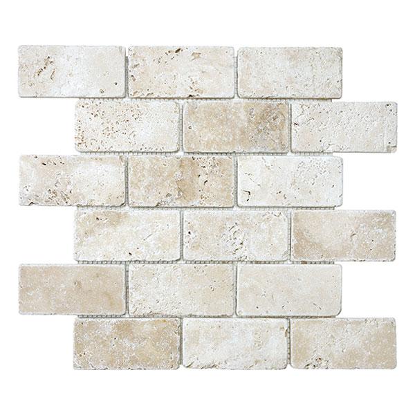 Ivory 2x4 Tumbled Brick Mosaic