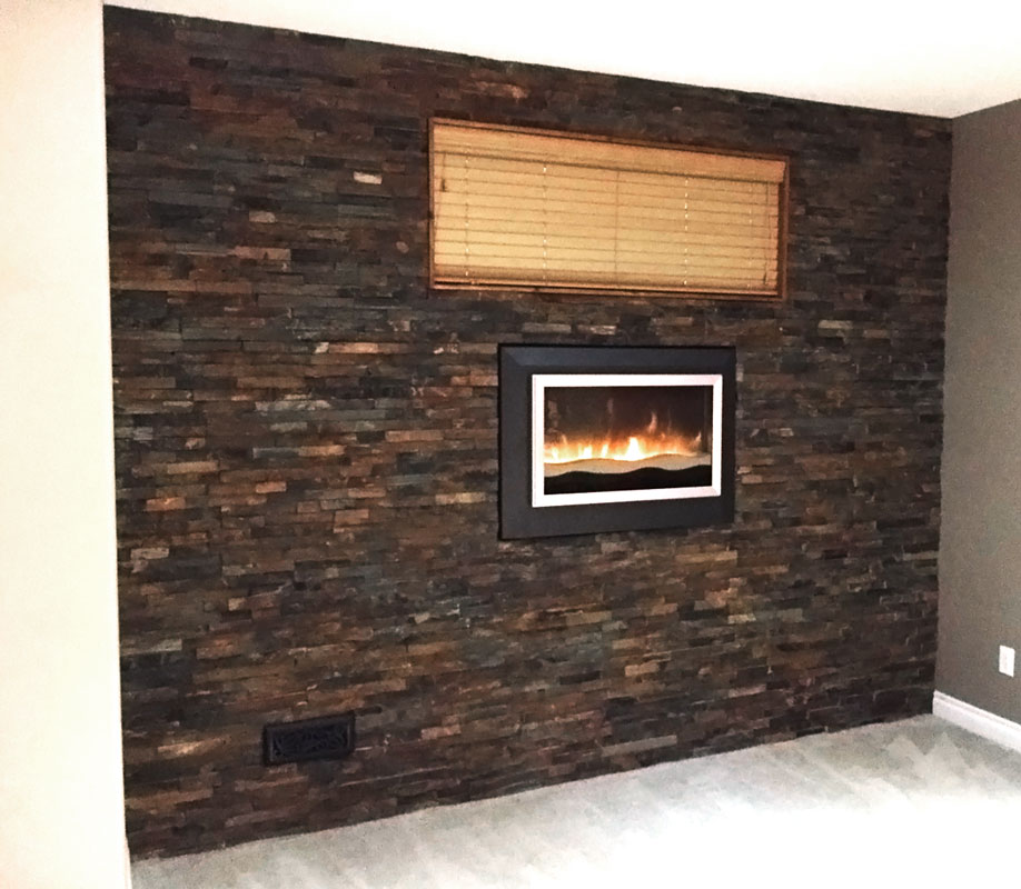 slate ledgestone rustic earth splitface 6x24 tile stone Wood Fireplace Surrounds Rustic Stone Fireplaces