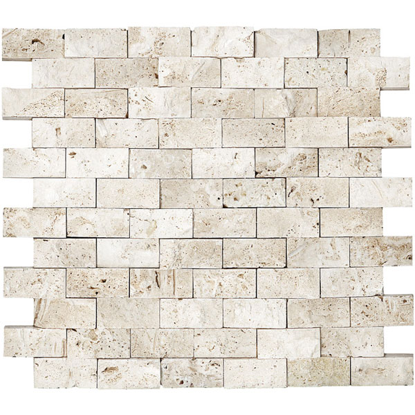 Ivory Travertine 1x2 Splitface Mosaic