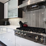 Wooden White Marble Bolder Stone Panel installed as a backsplash