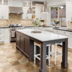 Picasso Travertine installed in a kitchen